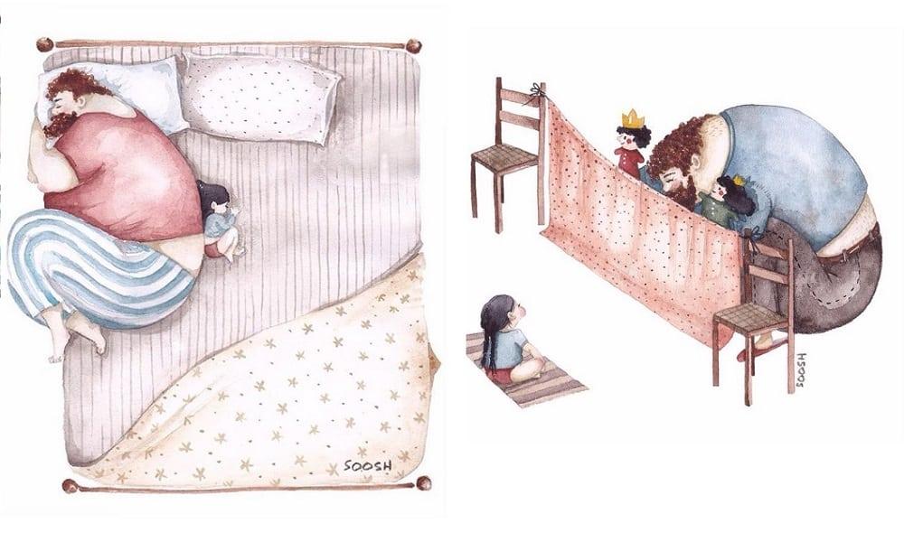 13 ilustrações que mostram a incrível relação entre pais e filhas