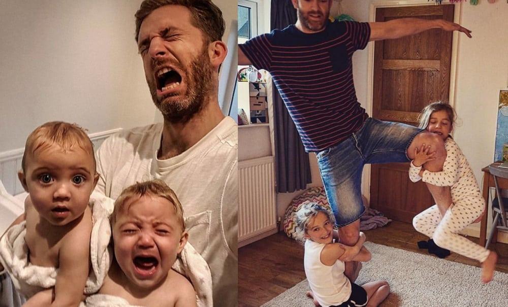 Este pai de 4 meninas está derretendo a internet com as fotos fofas de seu cotidiano
