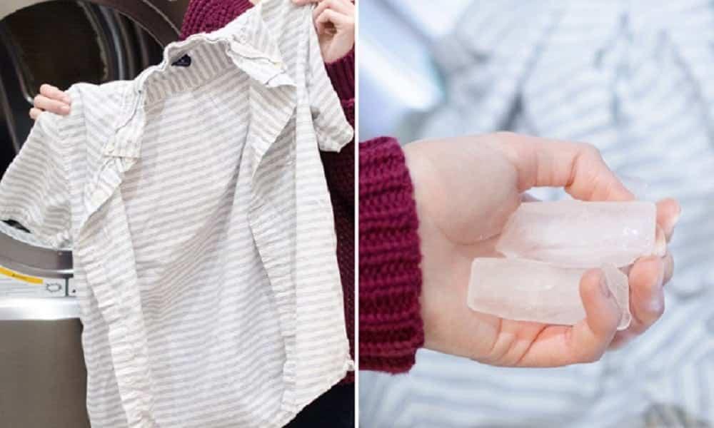 Truque simples permite passar roupa com gelo, sem usar ferro de passar