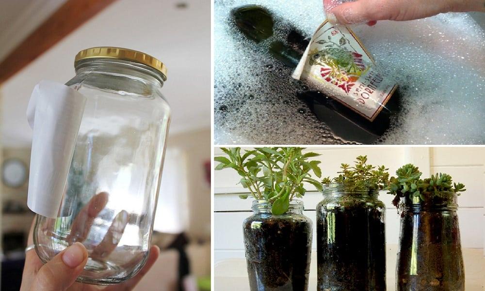 Como tirar rótulos de potes e garrafas de vidro, sem deixar restos de cola