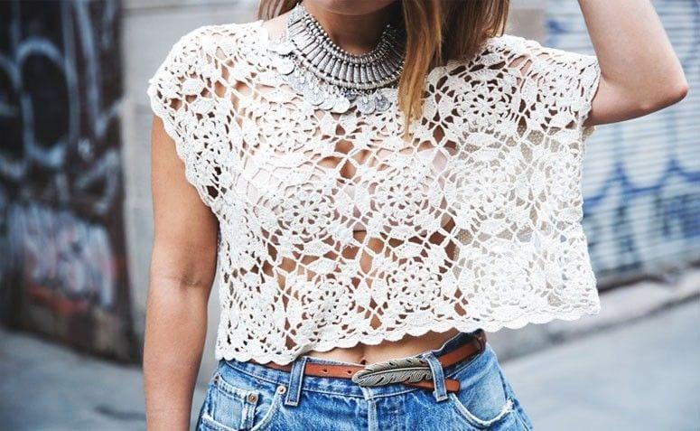 Blusa de crochê, como usar, como fazer, onde comprar e inspirações
