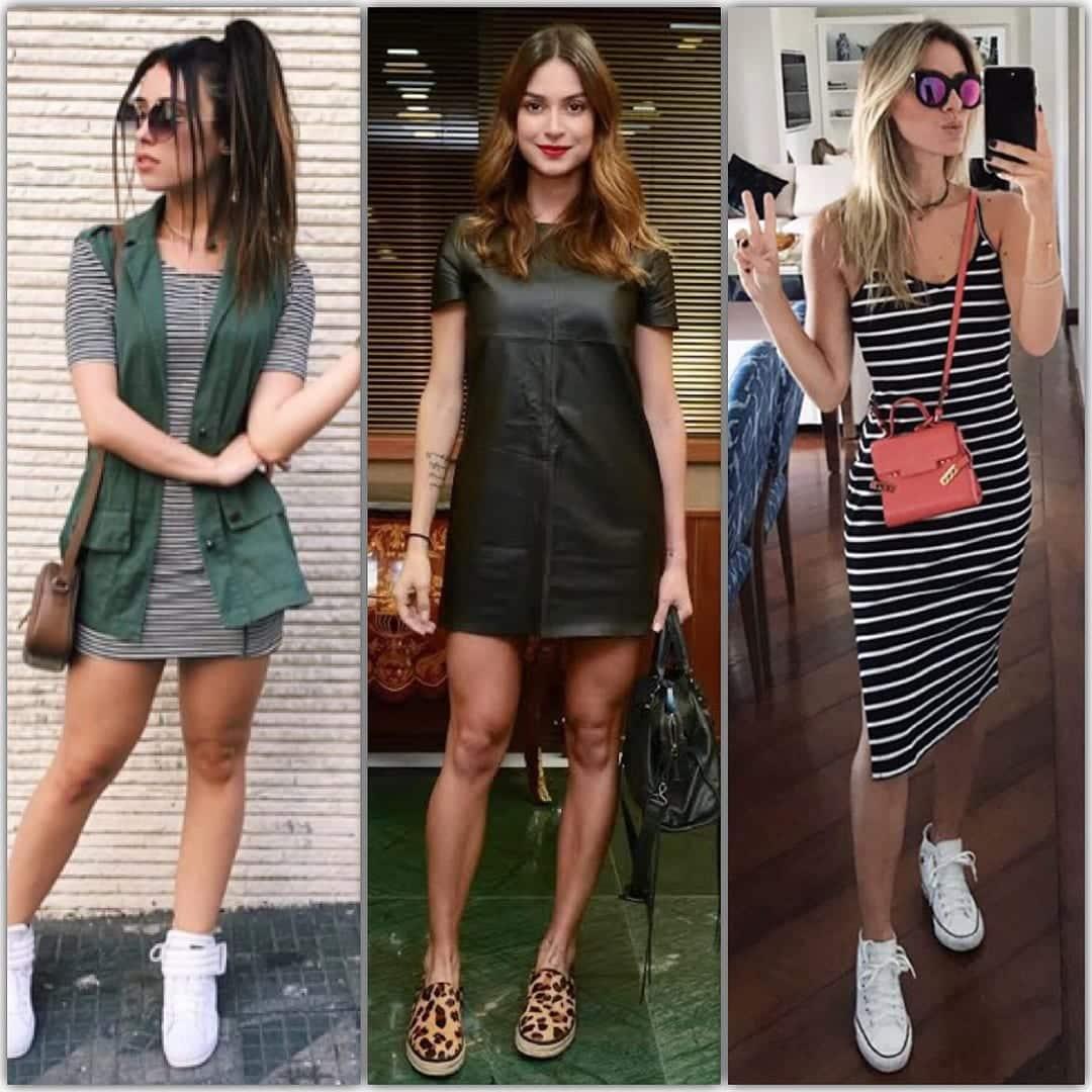 Confira agora vários modos de se usar vestido com tênis