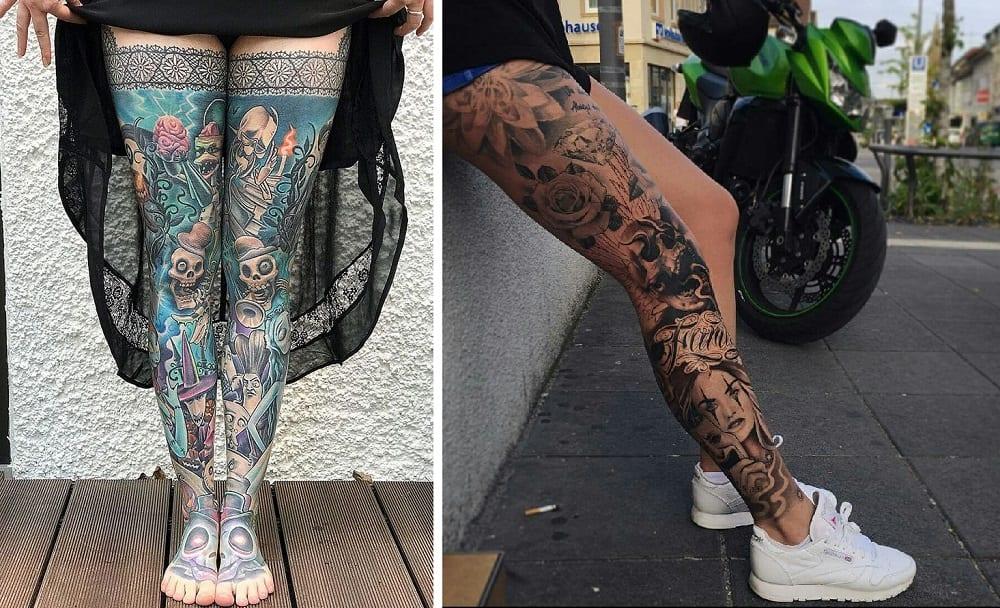Tatuagem na perna - 80 opções de desenhos e estilos de tattoos femininas