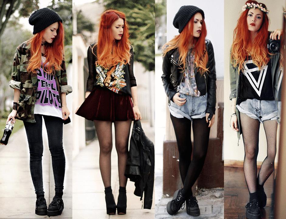 meninas usando estilo rocker