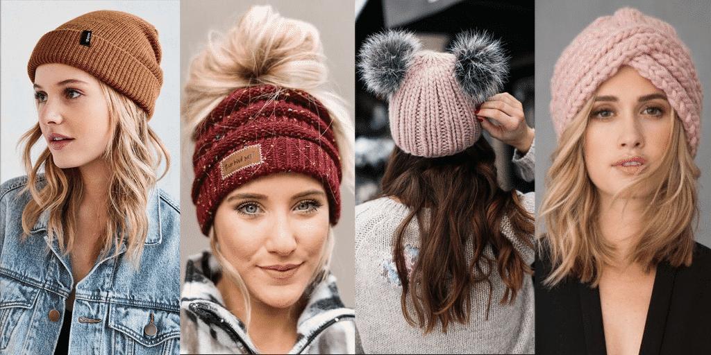 Mulheres usando vários tipos de toucas