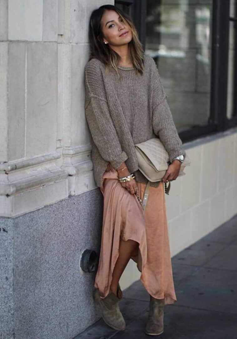 Maxi tricot com maxi vestido
